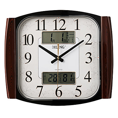 17 2 reloj de pared moderno mudo lcd con el calendario y - Reloj de pared moderno ...