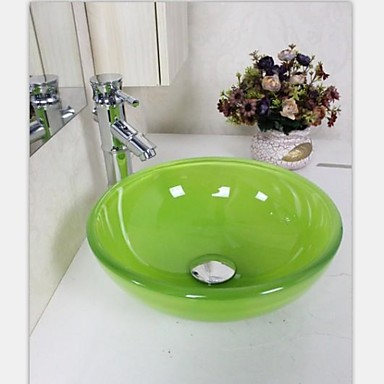 Autique Mini Grün Runde gehärtetes Waschbecken aus Glas