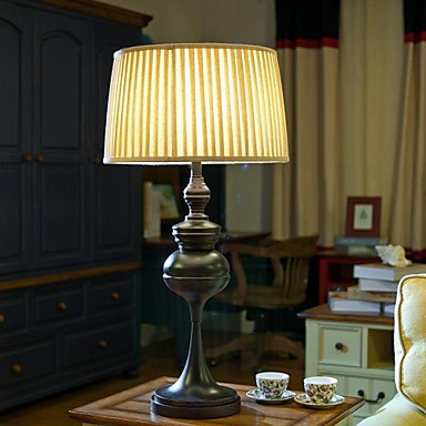 american country style table lamp one light steel and fabric. Black Bedroom Furniture Sets. Home Design Ideas