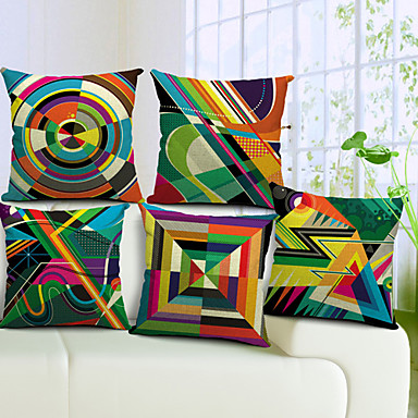 Buy Set 5 Colorful Geometric Cotton/Linen Decorative Pillow Cover