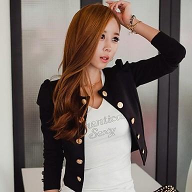 женская слоеного рукав куртки с кнопками