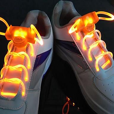 Long Bright Flash Slow Flash Waterproof LED Shoelace Orange (1-Pair)