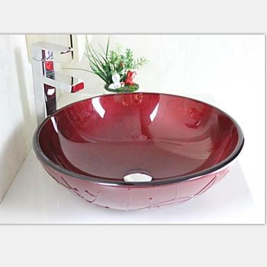 Rojo oscuro contempor neo pintado templado fregadero recipiente de vidrio con grifo conjunto - Lavabo de vidrio ...