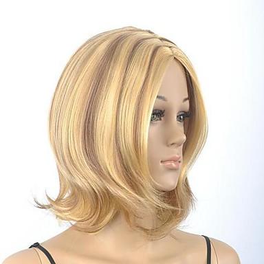 women's medium length straight brown with blonde short wig
