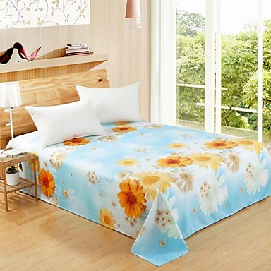1-Piece 100% Cotton Twill Jacquard Flat Sheets Full/Queen
