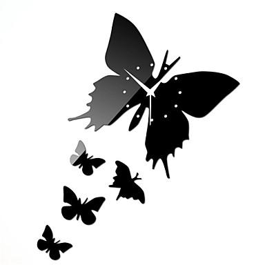 20 h style moderne papillon noir 3d miroir acrylique for Decoration murale papillon 3d noir