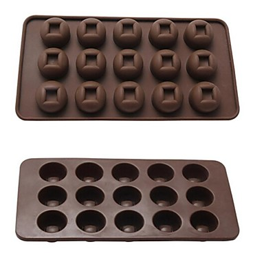 Buy 15 Hole Copper Shape Cake Ice Jelly Chocolate Molds,Silicone 21.3×10.8×2 CM(8.4×4.3×0.8INCH) Random Color