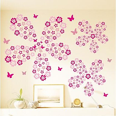 10-set Wall Stickers Wall Decals, DIY Flowers PVC Wall Stickers 10 Colors