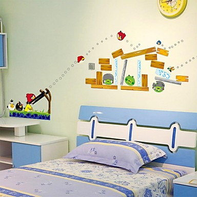 Wall stickers wall decals fashion angry birds pvc wall for Angry birds wall mural