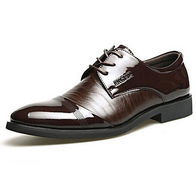 Men's Spring Summer Fall Winter Formal Shoes Patent Leather Party & Evening Chunky Heel Lace-up Split Joint Black Brown