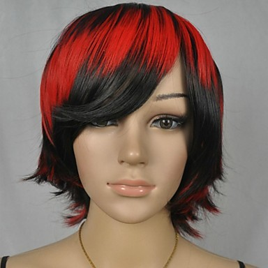 Buy Women's Black Red Mix Straight Short Party Cosplay Wig