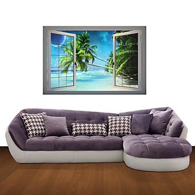 Buy 3D Wall Stickers Decals, Seaside Coconut Trees Decor Vinyl