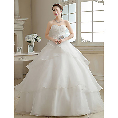 Ball Gown Wedding Dress Floor-length Sweetheart Organza with Criss-Cross / Flower / Tiered