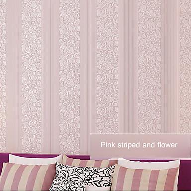Papel tapiz contempor neo flor floral y la combinaci n de - Papel pared rayas verticales ...