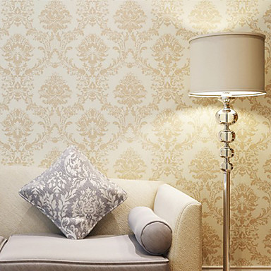 moderne tapete florale beige damast entwirft pvc finish gold wandverkleidung pvc vinyl. Black Bedroom Furniture Sets. Home Design Ideas