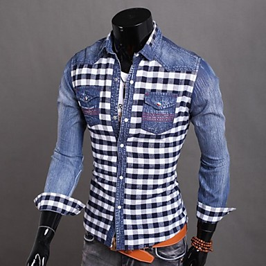 Men's Plus Size Plaid Green,/Blue Shirt,Long Sleeve