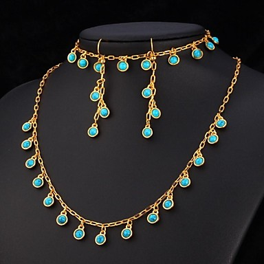 U7 blue turquoise stone necklace bracelet earrings 18k for Turquoise colored fashion jewelry