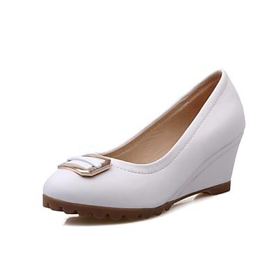 Zapatos de mujer tac n cu a tacones punta redonda for Zapatos de trabajo blancos