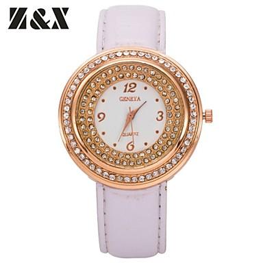 la grosse montre quartz analogique bracelet en cuir de cas de diamants de la mode des femmes. Black Bedroom Furniture Sets. Home Design Ideas