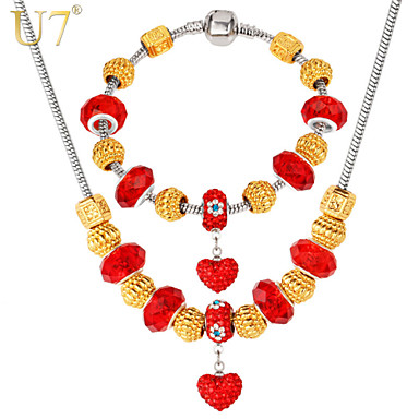 Buy U7® Women's 18K Real Gold Plated Red Crystal DIY Heart Charms European Beaded Bracelet Charm Necklace Jewelry Set