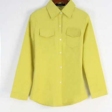 Women 39 S Solid Blue Pink Green Yellow Shirt Casual Shirt