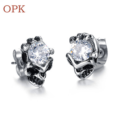 OPK®Skeleton Personality AAA Zirconium Drill Titanium Earrings Exquisite Gift