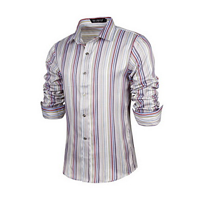 Buy Karuimi Men's Europe cultivate one's morality leisure stripe long sleeve shirts