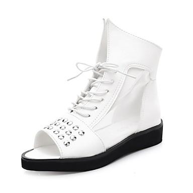 Zapatos de mujer tac n bajo punta abierta sandalias for Zapatos de trabajo blancos