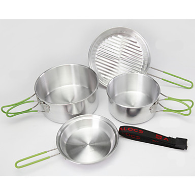 2-3 People Portable Outdoor Cooking Utensils Set Anodised Aluminum Foldable Non-stick Pot Bowl ...