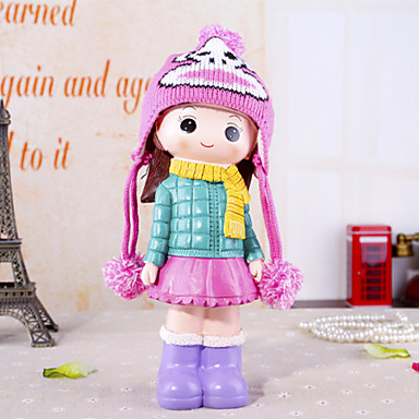 """11.4""""H Cute Cartoon Girl With Piggy Bank Home Furnishing Decorations"""