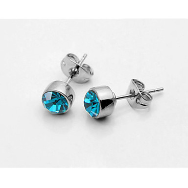 Buy T&C Women's Concise Blue Crystal Stud Earrings 18K White Gold Plated Jewelry Austrian