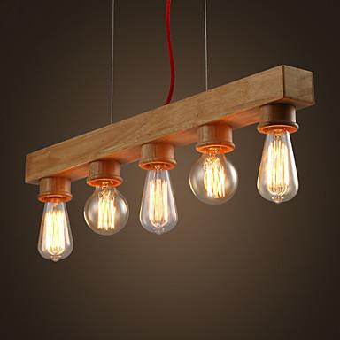 Max 60w island light contemporain rustique bois for Lustre salle a manger contemporain