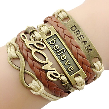Women's Men's Charm Bracelet Leather Bracelet Basic Love European Fashion Vintage Plaited Initial Jewelry Personalized Leather AlloyLove
