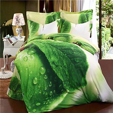 verde mingjie folhas de cama de algod o conjuntos 3d 4pcs. Black Bedroom Furniture Sets. Home Design Ideas