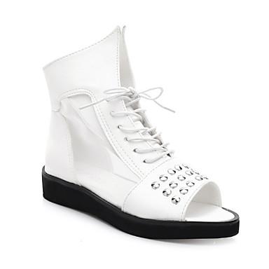 Zapatos de mujer tac n plano punta abierta sandalias for Zapatos de trabajo blancos