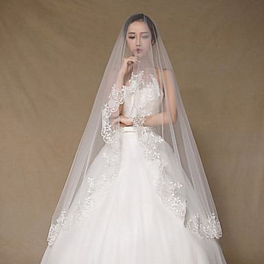 Buy Wedding Veil One-tier Cathedral Veils Lace Applique Edge