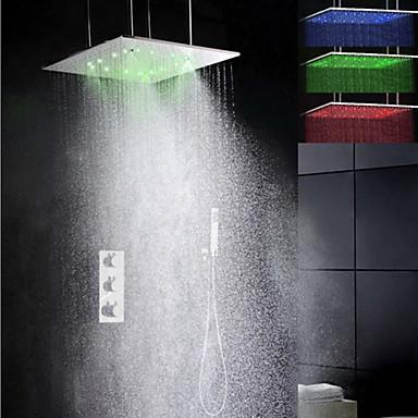 Grifo de ducha contempor neo led con termostato for Ducha lluvia