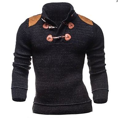 Men's Casual/Daily Sports Regular Cardigan,Solid Long Sleeve Cotton Polyester