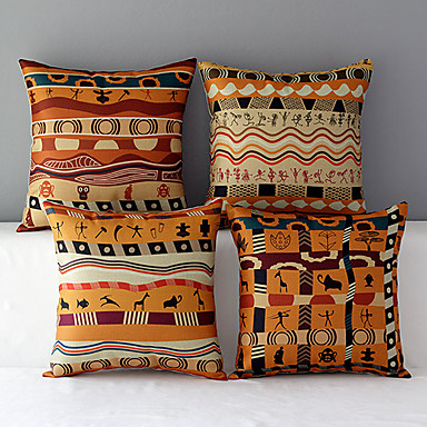 Buy Set 4 Africa Style Patterned Cotton/Linen Decorative Pillow Covers