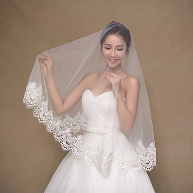 Buy Wedding Veil One-tier Fingertip Veils Lace Applique Edge