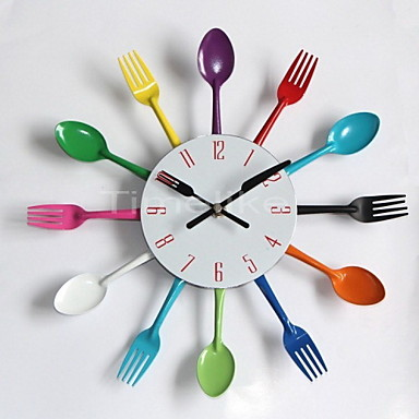 Cool stylish modern design wall clock colorful kitchen for Colorful kitchen wall decor
