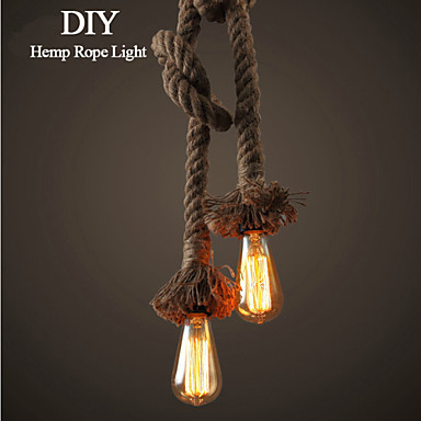 1 Light Do It Yourself Art Hemp Rope Light Creative Hemp Rope Droplight Long ...