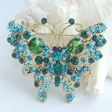 2.56 Inch Gold-tone Turquoise Green Rhinestone Crystal Butterfly Brooch Penda...