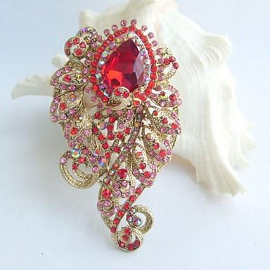 3.15 Inch Gold-tone Red Rhinestone Crystal Flower Brooch Pendant Brooch Bouquet