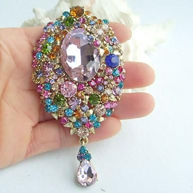 3.94 Inch Gold-tone Multicolor Rhinestone Crystal Drop Flower Brooch Pendant ...