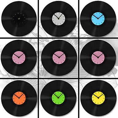 "11.8""W Modern Style All Black Gum White Hands Wall Clock"