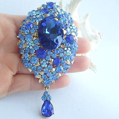 3.94 Inch Gold-tone Blue Rhinestone Crystal Drop Flower Brooch Pendant Art Deco