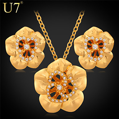 Buy U7® Women's Austrian Rhinestones Stud Earrings 18K Gold Plated/Platinum Plated Hollow Necklace Flower Jewelry Set