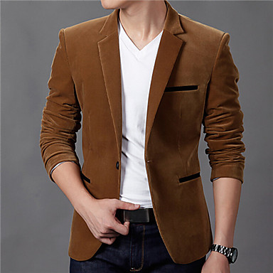 Men's Casual/Daily Vintage Fall Winter Blazer,Solid Notch Lapel Long Sleeve Regular Cotton