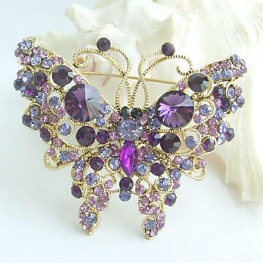 2.56 Inch Gold-tone Purple Rhinestone Crystal Butterfly Brooch Pendant Art Deco